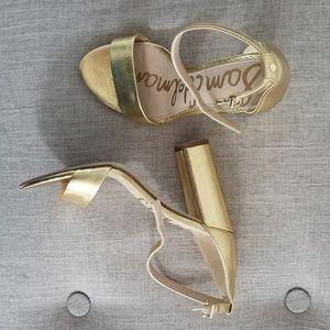 Gold Sam Edelman ankle strap heels